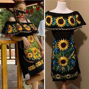 Of the shoulders Mexican embroidered dress